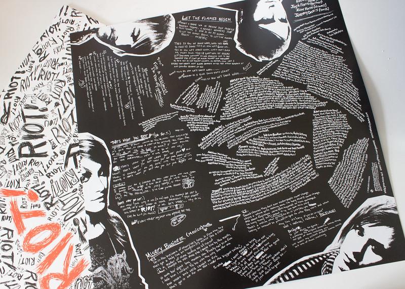 Paramore Riot on Vinyl lyric sheet