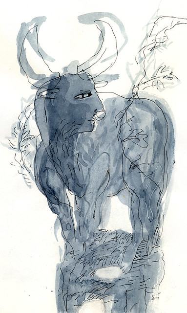 Taurus: a black & white pen and ink sketch