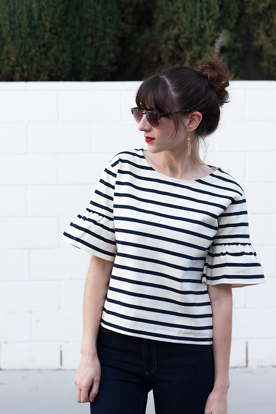 Ruffle Sleeve Striped Top