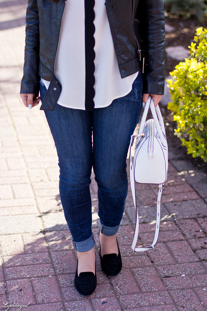 scalloped blouse, leather jacket, denim, white bag-1.jpg