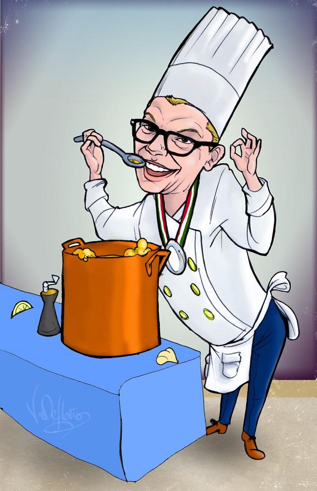 Noicattaro. Vignetta chef Francesco Cinquepalmi intero