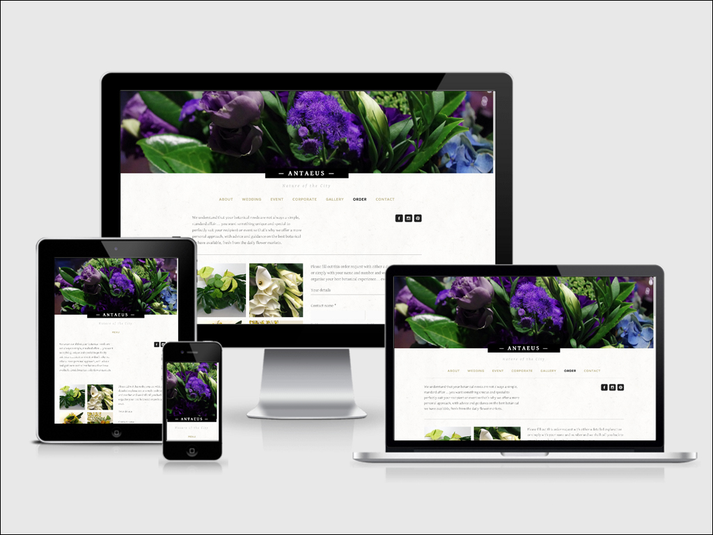 Antaeus Flowers website seen on various devices