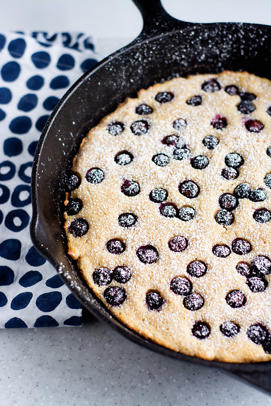 Skillet Blueberry Oven Pancake