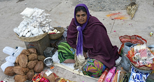 """The Simhastha will affect more than 50 families whose livelihoods depend on selling pooja materials. The government has asked them to leave Ramghat for a month. """"How we will sustain our families"""", asks Rupa Gayakwad, a shopkeeper from Ramghat, Ujjain."""