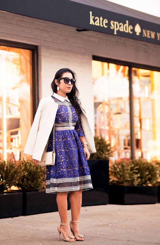 cute & little blog | self-portrait blue crochet mesh dress, nude bow sandals, tory burch wallet on chain | fall winter outfit