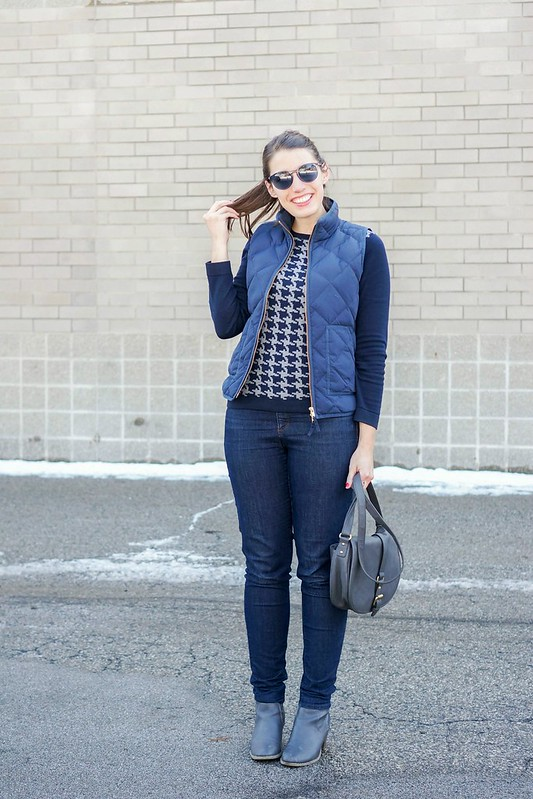 navy quilted vest + houndstooth print sweater + gray ankle boots and purse; Style On Target