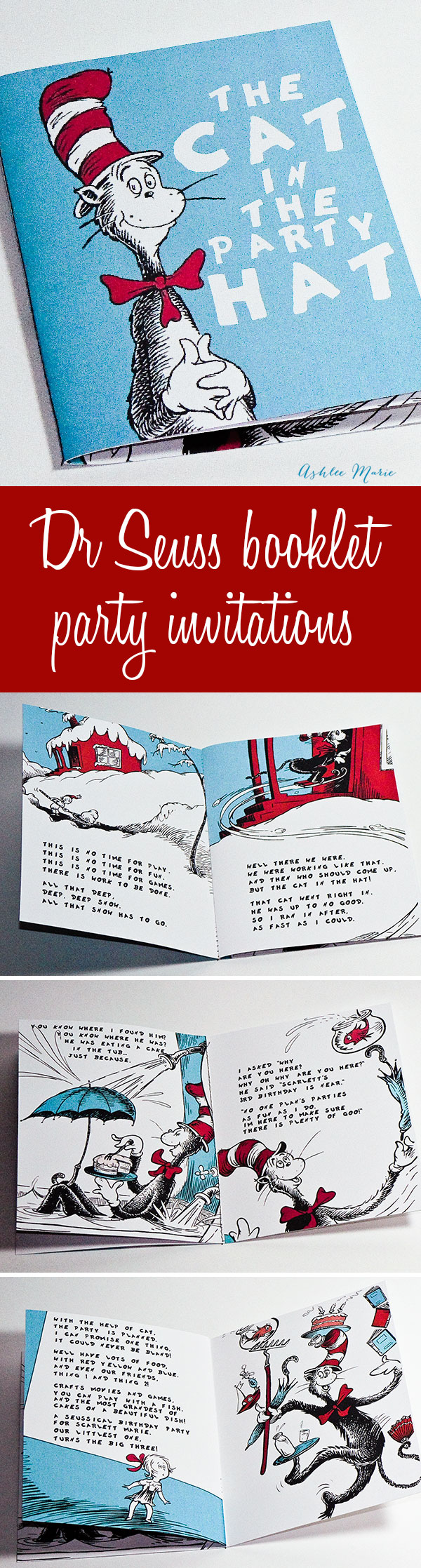 A fun booklet invitation for a Dr Seuss party - how I did it and instructions to create your own.