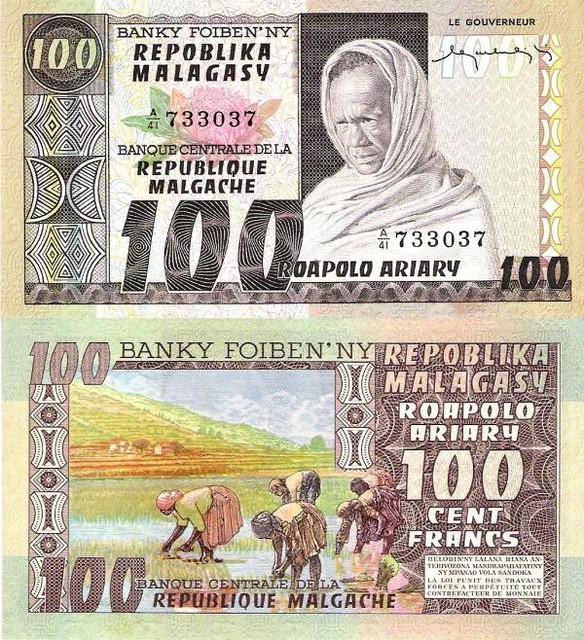 Madagascar 100 Francs 20 ariary 1974