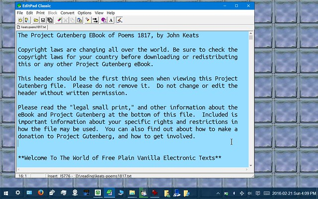 Simple Text File Display of Ebook from Project Gutenberg