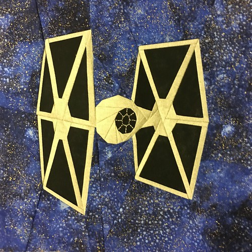 "Star Wars Tie Fighter paper pieced 10"" quilt block designed for fandominstitches.com's #starwarsquiltchallenge"