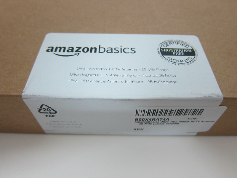 AmazonBasics Ultra Thin Indoor TV Antenna - Box Label