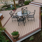 DuraLife Siesta decking in Pebble with Mahogany trim