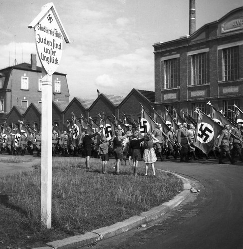 Nazi parade along a German street
