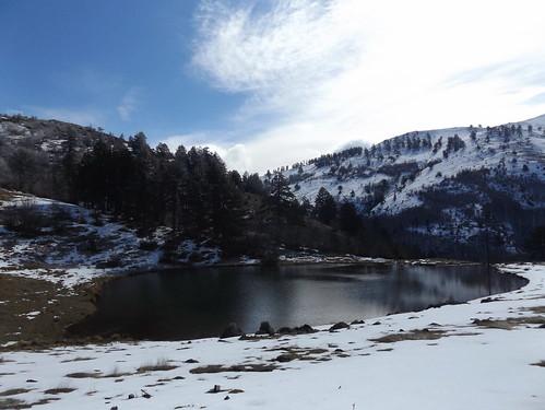 δέντρα χιόνια βουνά βασιλίτσα πλαγιά αλπικήλίμνη δίστρατο μαυρόπευκα