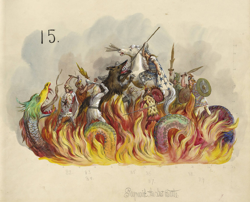 Carlotta Bonnecaze - The Last Battle, float design from Krewe of Proteus, 1895
