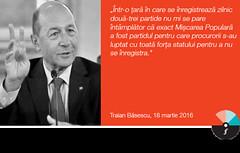 """Traian Băsescu: """"Într-o țară în care se înregistrează zilnic două-trei partide"""""""