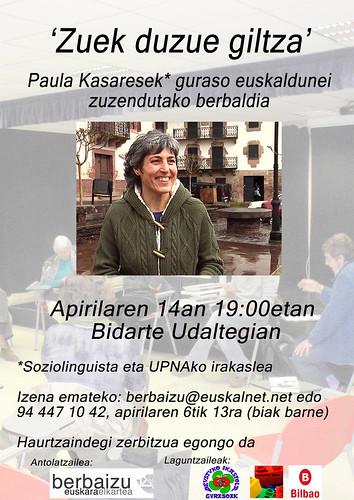 Apirilaren 14ean Paula Kasares Bidarten