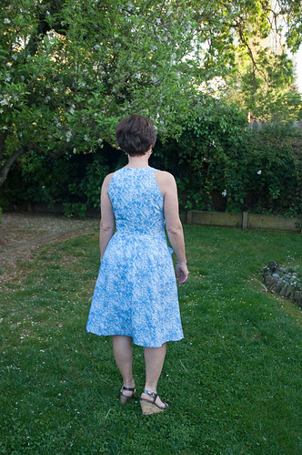 Back view blue white dress