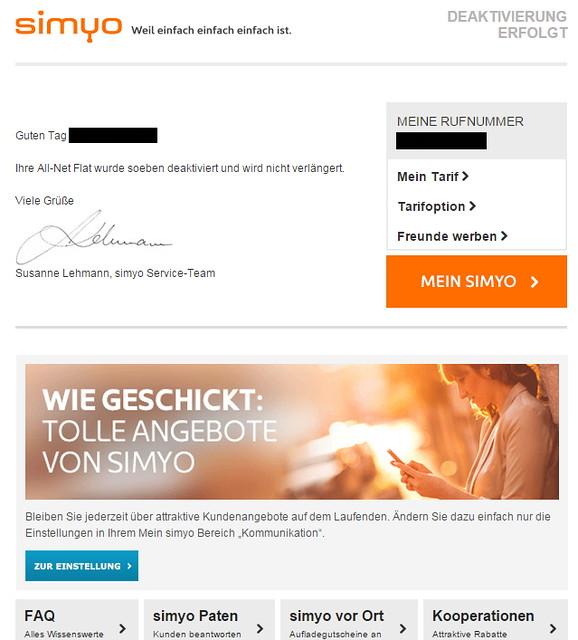Simyo Deaktivierungsschreiben ohne Kundennummer