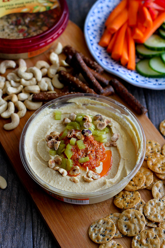 Hummus with Pesto and Pickled Celery…You may never go back to plain hummus again! 68 calories and 2 Weight Watchers SmartPoints