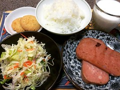 "it's been ages since I've had baked luncheon meat...""school lunch""...baked luncheon meat with guava jelly & grainy mustard, japanese cole slaw, rice, coconut cookies & milk❤︎  #dinner #japan #osaka"