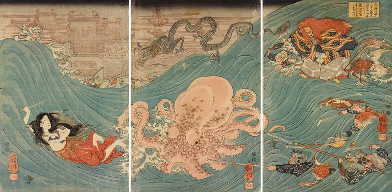 Utagawa Kuniyoshi - Shizu no ama otome Daishokan, 1847-48