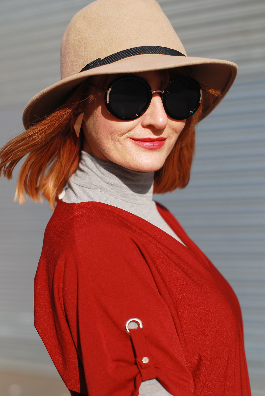 Layered tunic and roll neck with a camel fedora | Not Dressed As lamb