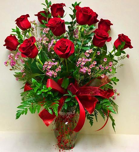 #01 $85 Deluxe Dozen Long Stem Roses