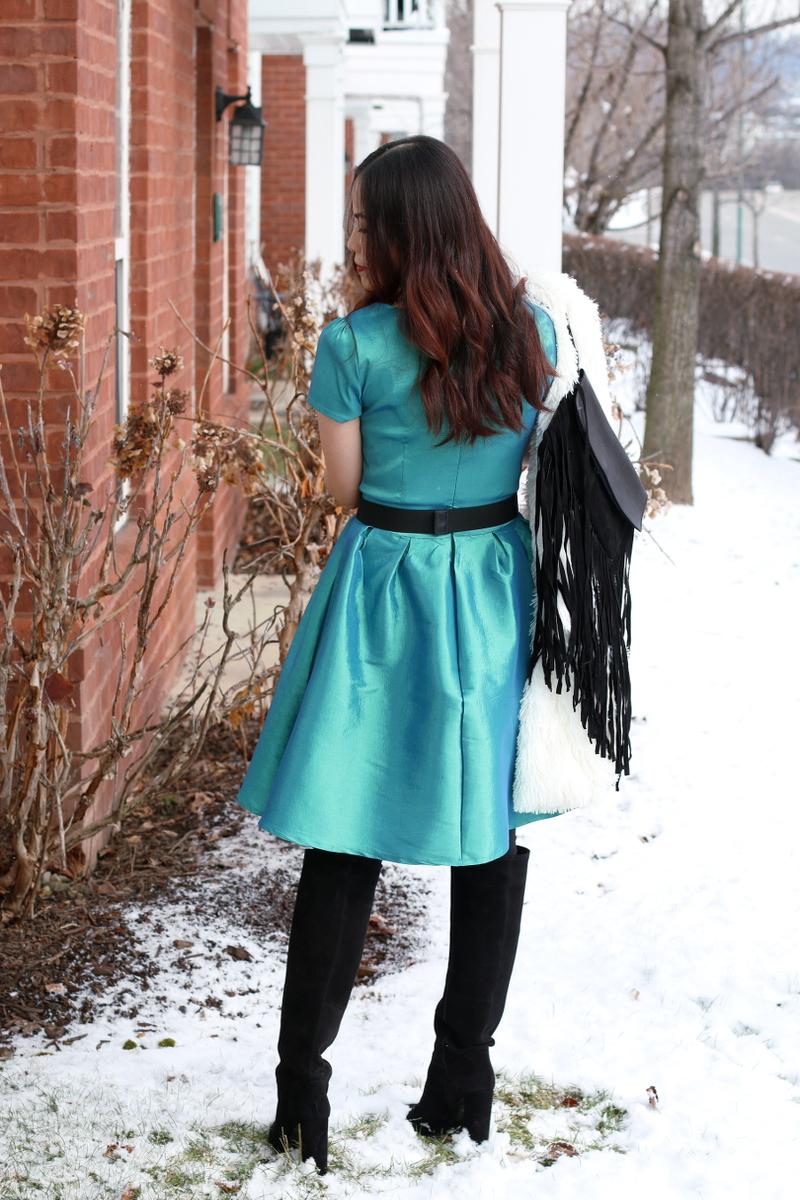 Shabby Apple green nutcracker dress back, tall suede boots