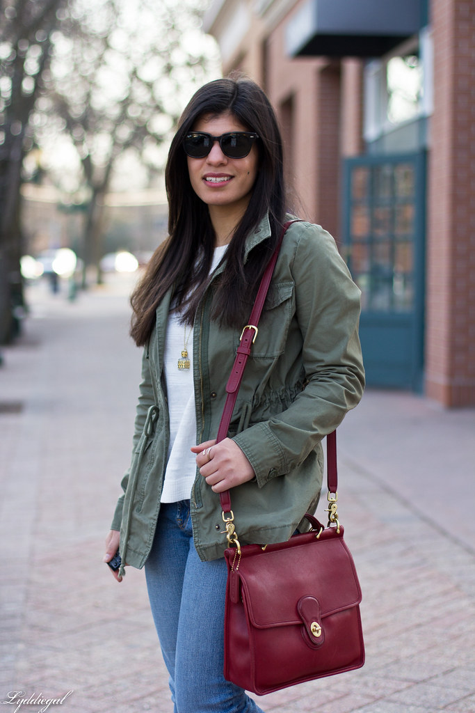 field jacket, jeans, converse sneakers, red coach bag-2.jpg