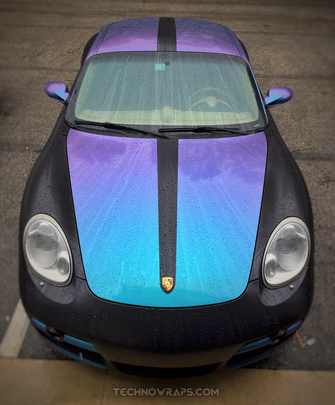 TechnoSigns Porsche Cayman S car wrap demo vehicle with color shifting vinyl