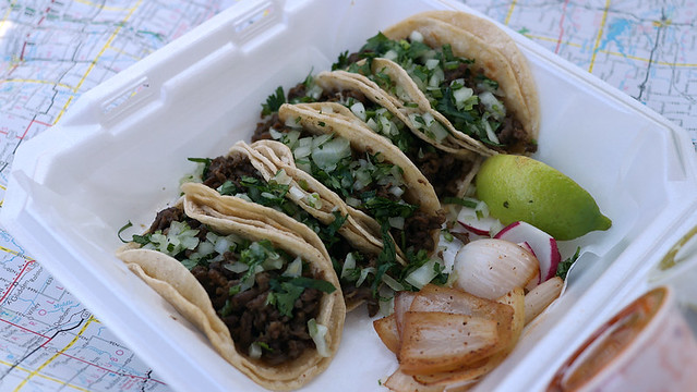 Carne Asada Steak Tacos from Taqueria Los Pinos Taco Truck in Des Moines, Iowa