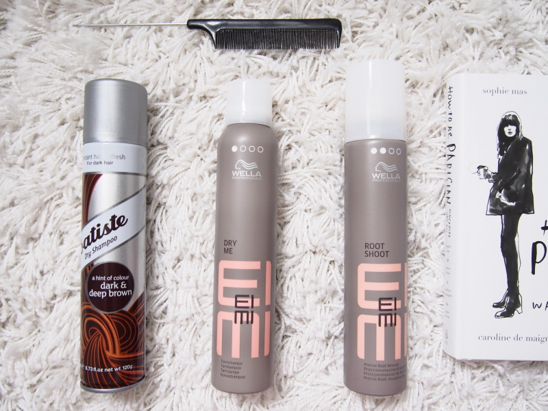Batiste Dry Shampoo for Brunettes, Wella EIMI Dry Me, Wella EIMI Root Shoot