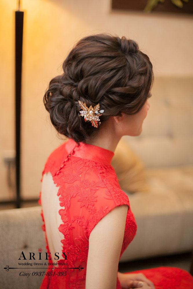 Giny,台北,新娘秘書,愛瑞思造型團隊,Ariesy,自然清透裸妝,新秘推薦,新娘髮型,新娘造型,日系造型,編髮,三峽福容飯店,鮮花造型