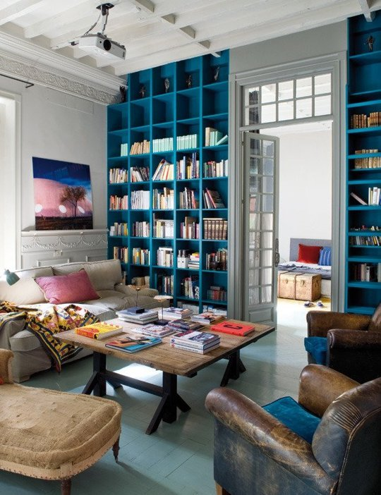 Blue Built In Bookshelves | Home Decor Inspiration