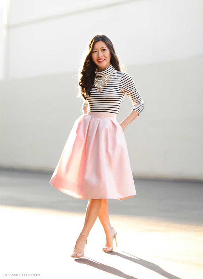 WHBM petite pink skirt jcrew striped top party outfit