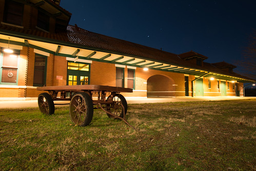 nightphotography texas trainstation paristexas railroadrelic