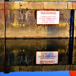 Sign reflection at Preston Docks