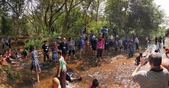 A Panorama of the Stream Spot where more people were trickling in, while the party had already begun on the right ;-)