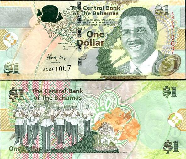 BAHAMAS 1 DOLLARS 2015 P NEW DE LA RUE UNC