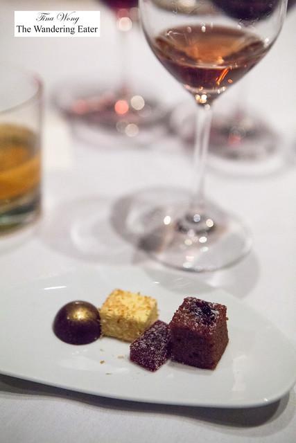 Petit fours - banana truffle, passion fruit marsmallow, cherry pate de fruit, cherry cake cube and Zweigelt, Jäger, Wachau, Austria 2014