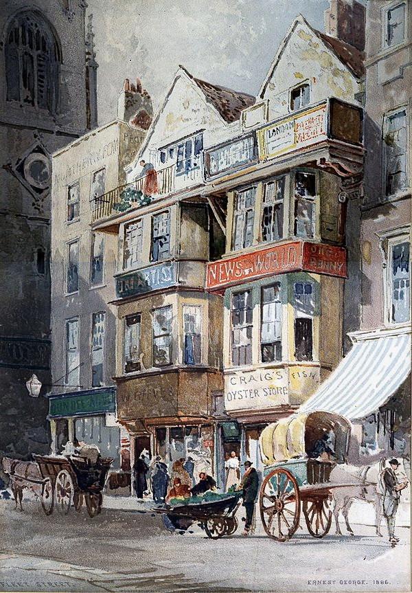Fleet Street, London by Ernest George 1886. St Dunstan in the West.