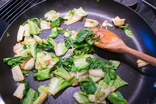 sautéing the romaine lettuce