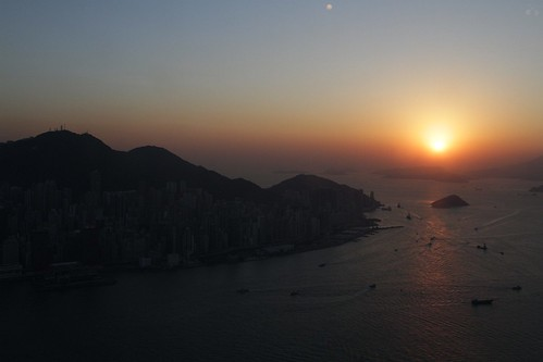 Sun sets to the west of Hong Kong Island
