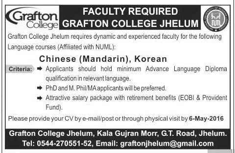 Grafton College Chinese and Korean Language Faculty Required