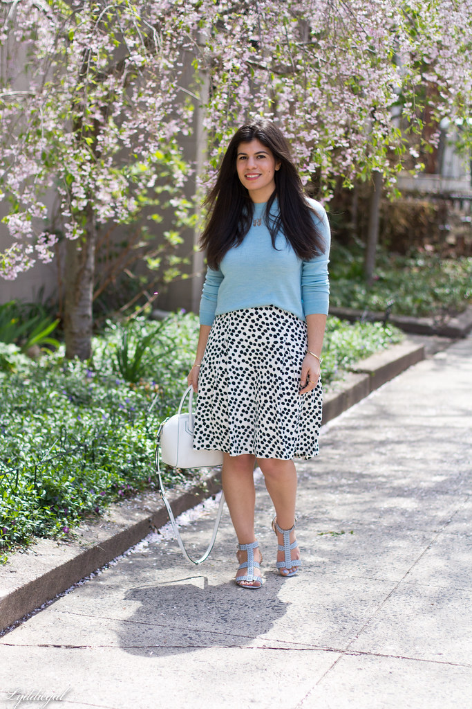 blue sweater, polka dot skirt, blue sandals-1.jpg