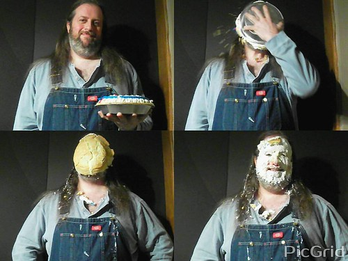 Pie in my face for Pi Day, 3/14/15. #pieintheface #overalls