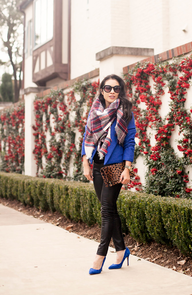 cute & little blog | petite fashion | plaid blanket scarf, cobalt blue coat, leather pants, cobalt pumps, leopard clutch | winter outfit