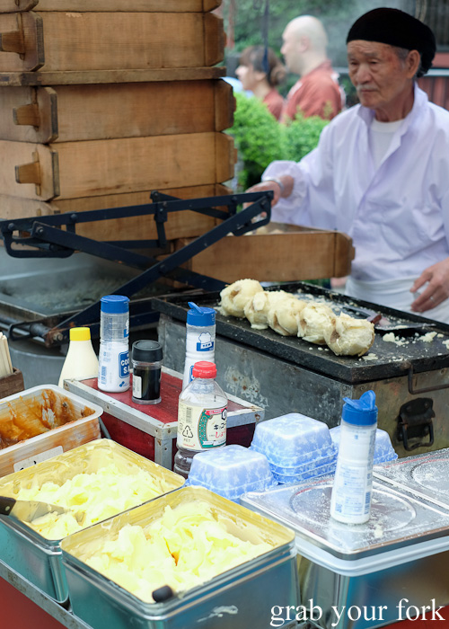 Hot baked potatoes with self-serve butter in Asakusa, Tokyo