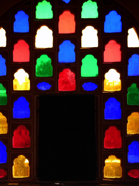 Backlit Stained Glass Windows in Jaipur's Palace of the Winds